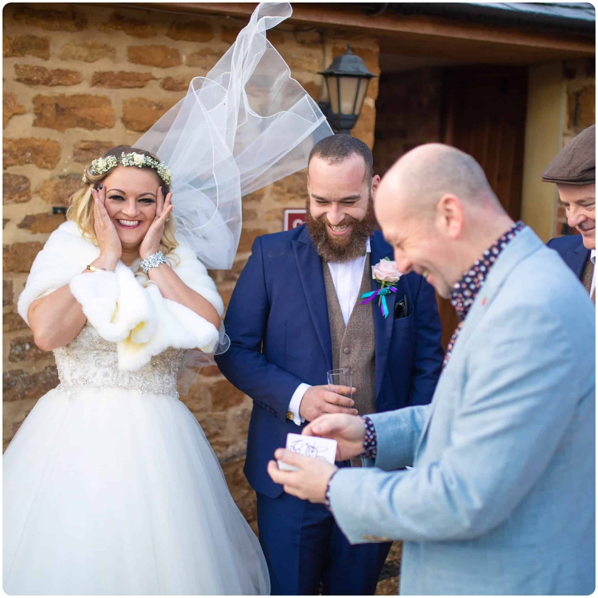 A bride and groom are blown away by the card trick Will Gray's just performed