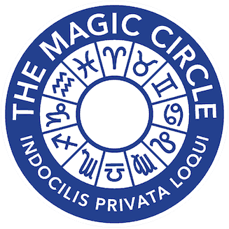 Blue and White zodiac logo of the world famous Magic Circle in London